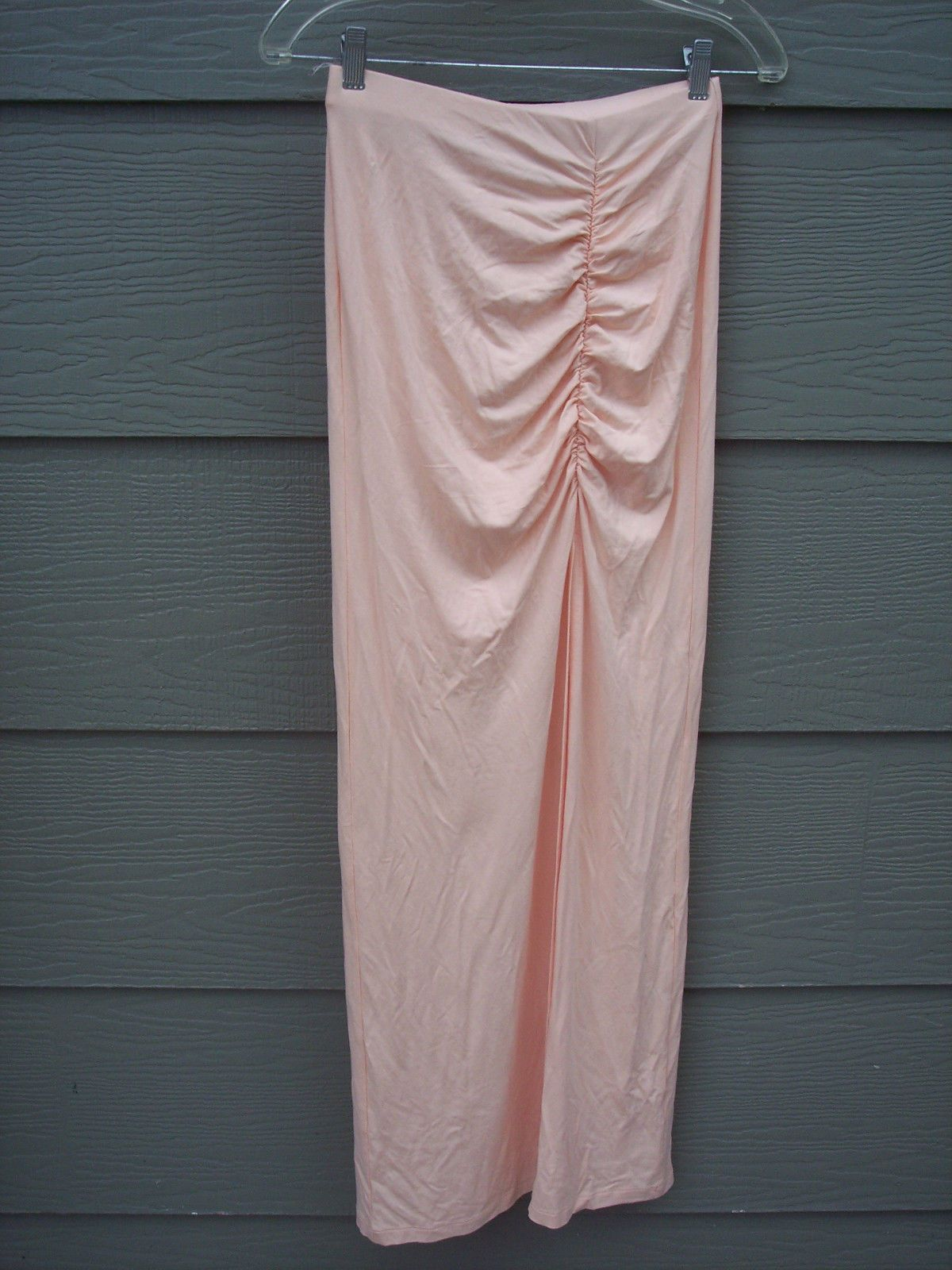 14.99 USD | ASOS Womens Strapless Knit Dress Sz 4 S Peach Ruched Front Long  Slit