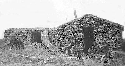 Pioneers Outside Sod House Near Coronation Haneyville Alberta