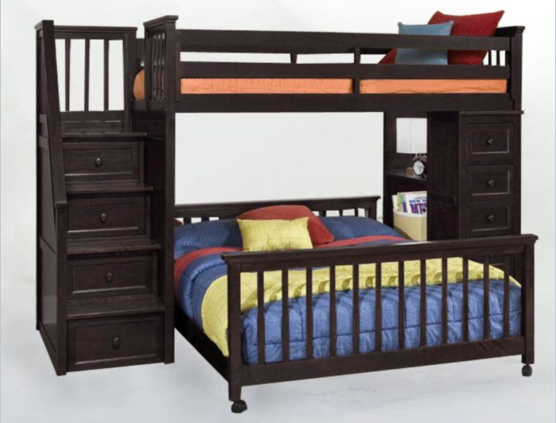 Advantages And Drawbacks Of Strong Wooden Loft Bed With Stairs This hardwood L-shaped bunk bed is in a contemporary design with a twin  over full. Stairs provide access to the upper bunk. Additional drawers  included on ...