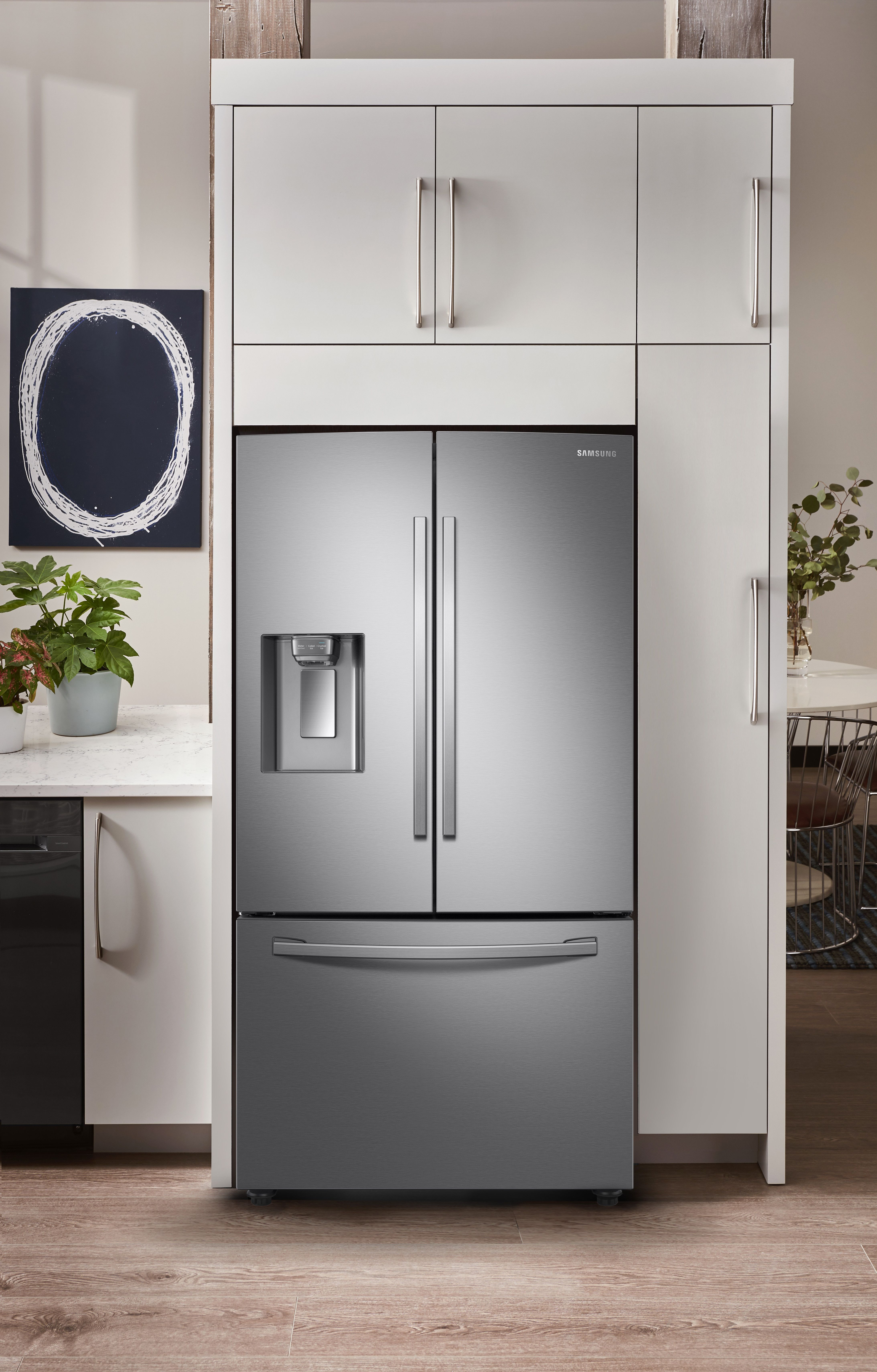 Samsung Rf28r6201sr 36 Inch 3 Door French Door Smart Refrigerator With Wi Fi Twin Cooling Plus Cool Select Pantry Integrated Ice And Water Dispenser Power F Counter Depth Refrigerator French Door Refrigerator Interior