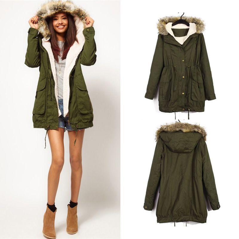 Military Parka Jacket for Women | Military Green Women Winter ...