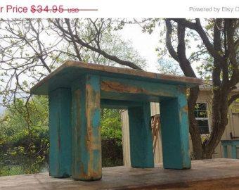"20% Off Sale Unique Primtiques Indoor Outdoor Small Garden Porch Flower Bench Primitive Distressed Bright Blue 11.5""x17""x10.5"" Custom Colors"