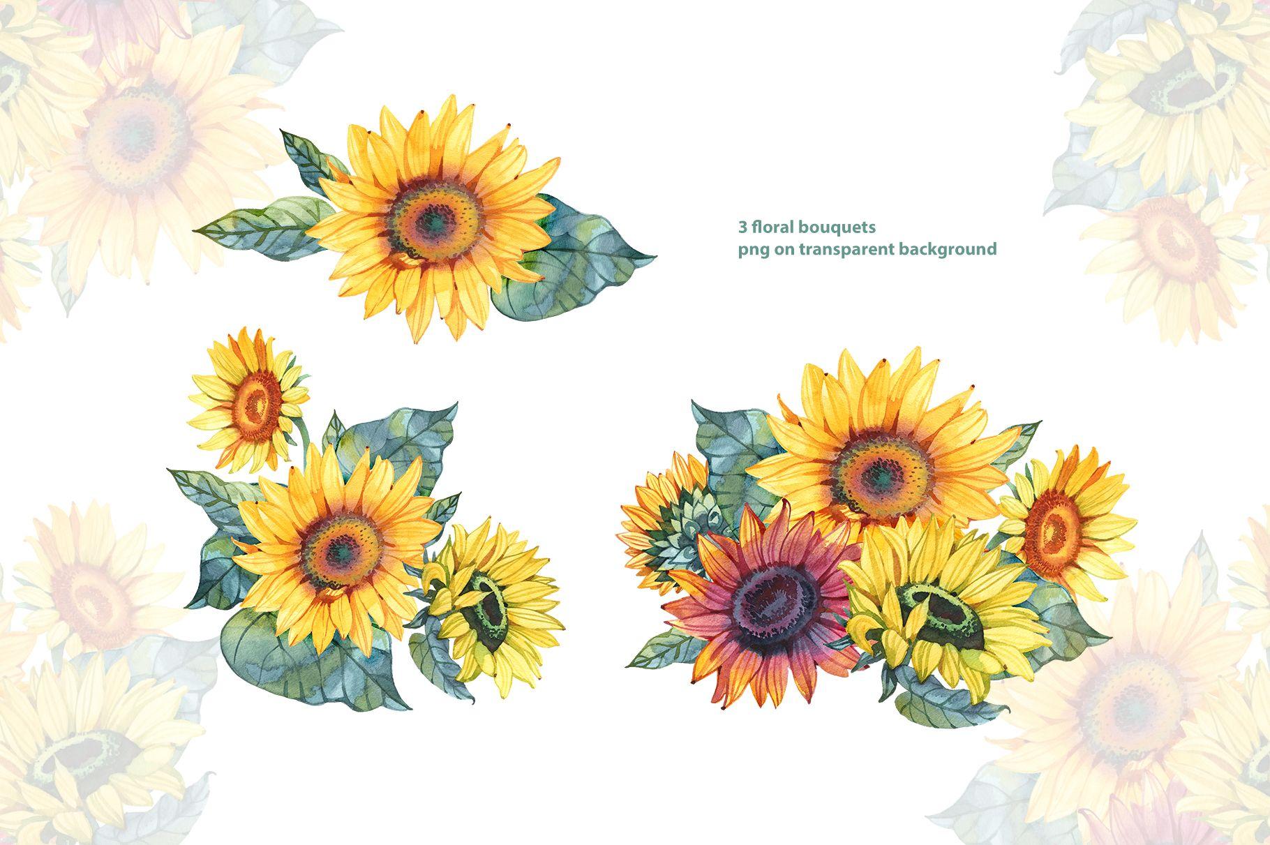 Watercolor Sunflowers Png Cliparts Clip Art Sunflower Etsy Watercolor Sunflower Sunflower Png Clip Art
