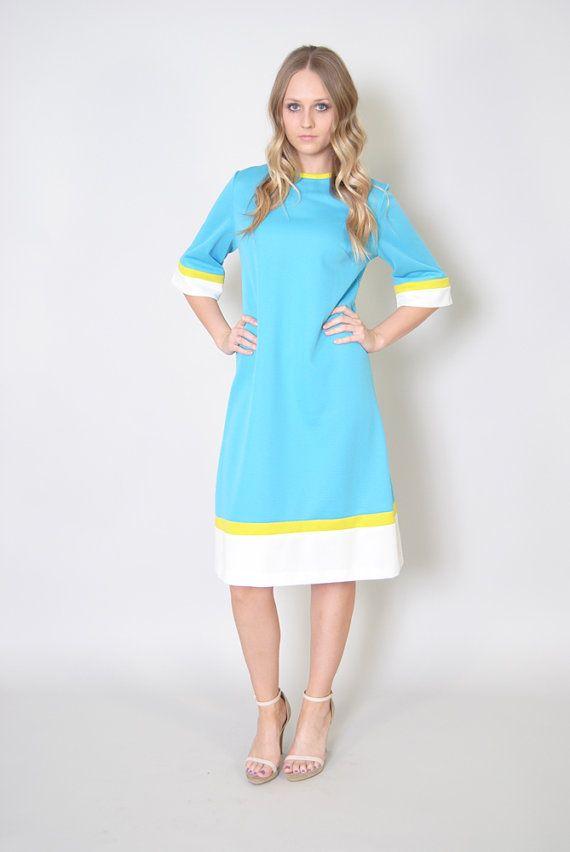Vintage Neon Sheath Dress 70s Color Block Striped Plus Size Dress Xl