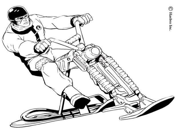 Here A Coloring Page Of Action Man On His Snow Bike Discover All