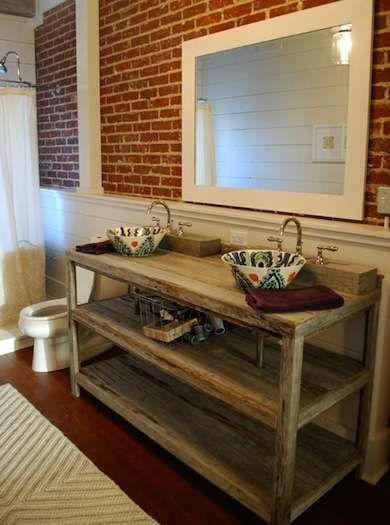 Rustic Chic Bathroom Vanity turn ceramic bowls into a diy vessel sink | bathrooms: bob vila's