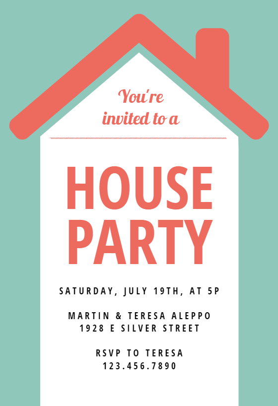 House Party House Party Invitation Template Free Greetings Island In 2021 Party Invite Template House Party Invitation House Party