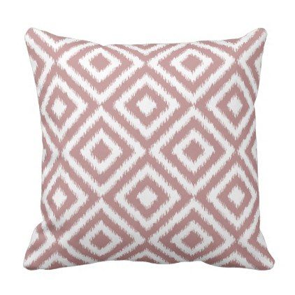 Antique Mauve White Ikat Tribal Mosaic Pattern Throw Pillow