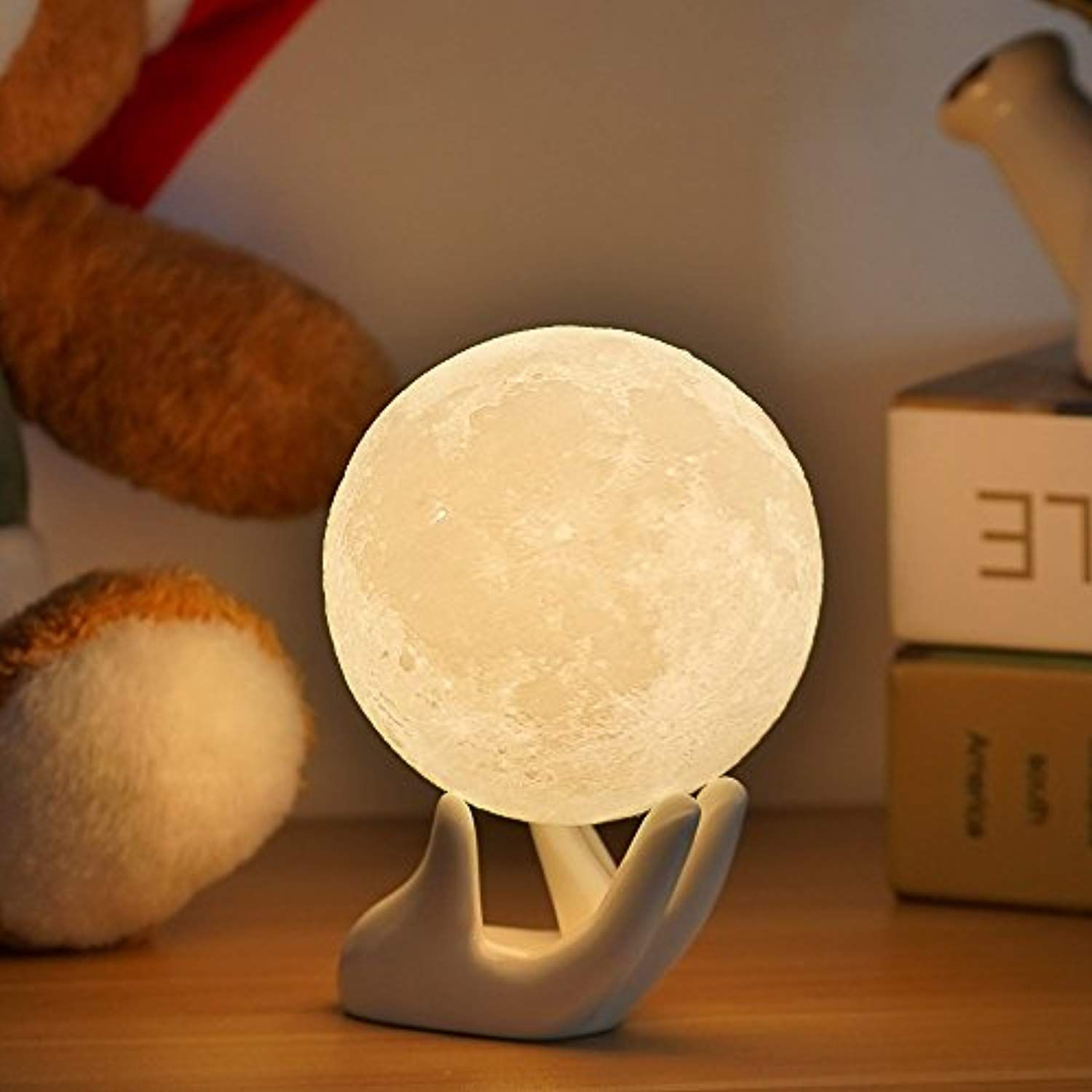 Full Moon Lamp Night Light 3 5in With Ceramic Hand Stand 3d Printed With Safe Pla Eye Caring Led Dimmab Night Light Halloween Decorations Best Baby Car Seats