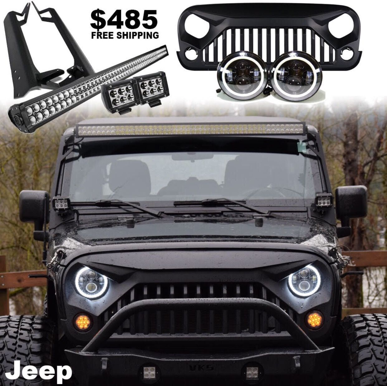 Jeep Wrangler mega bundle. Grille, halo headlights, light bar kits. Lifetime warranty. Visit Our website