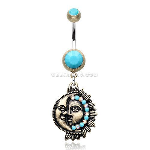Vintage Boho Sun & Moon Belly Button Ring (Brass/Turquoise)