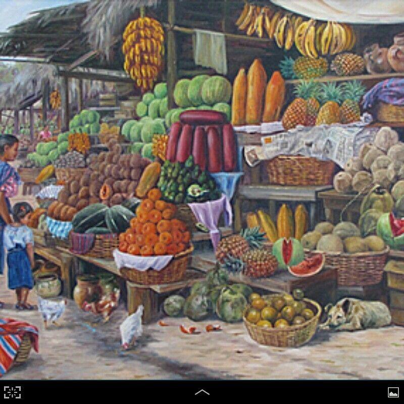 Pinturas de Guatemala, venta de frutas en la costa sur