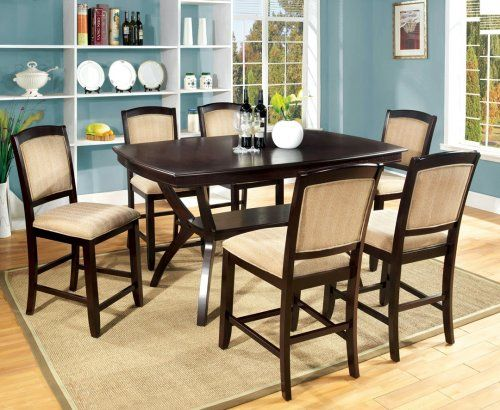 Gb3550Pt  Espresso Finish Counter Height Dining Table  6 Chairs Inspiration Espresso Dining Room Table Sets Design Inspiration
