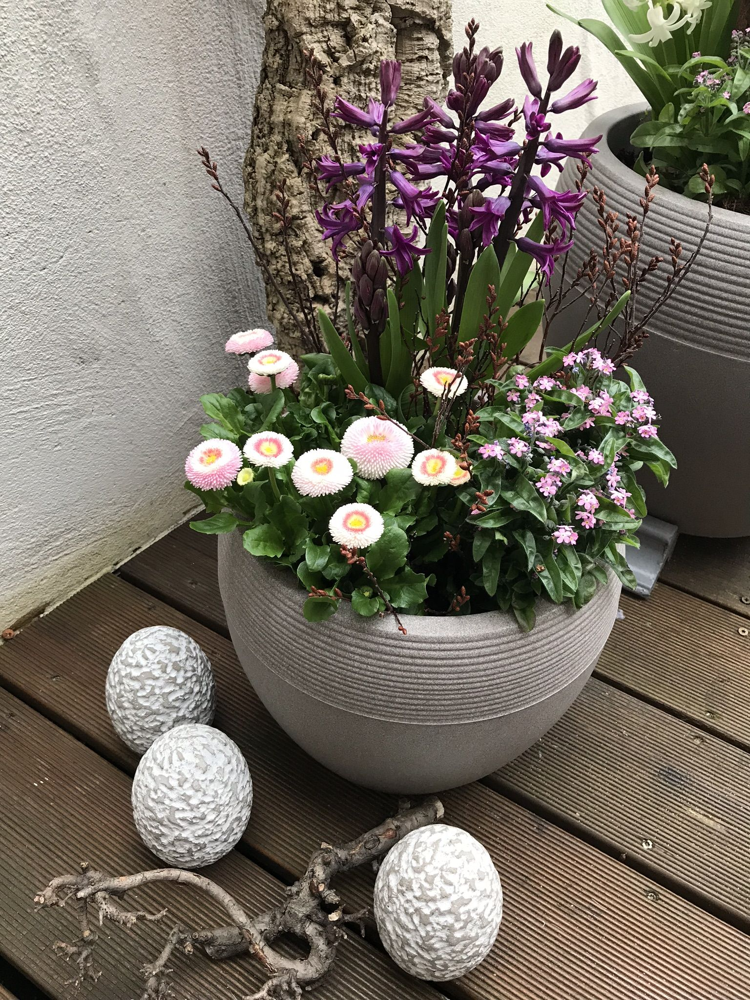 Balkon Osterlich Dekorieren Pflanzen Blumen Dekoration