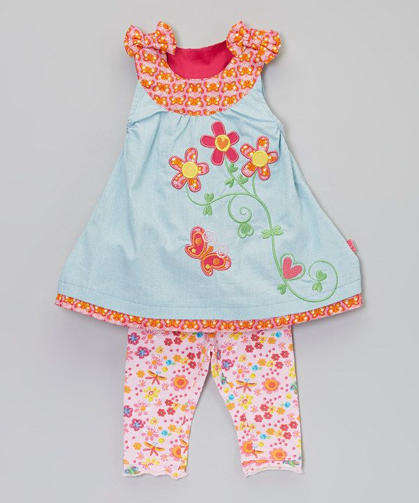 This Azalea Pink & Parfait Pink Kitte Dress & Kika Leggings - Infant by Me Too is perfect! #zulilyfinds