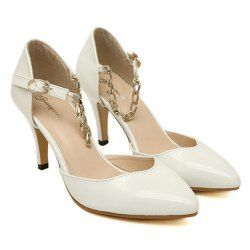 $13.55 Elegant Women's Pumps With Chain and Patent Leather Design