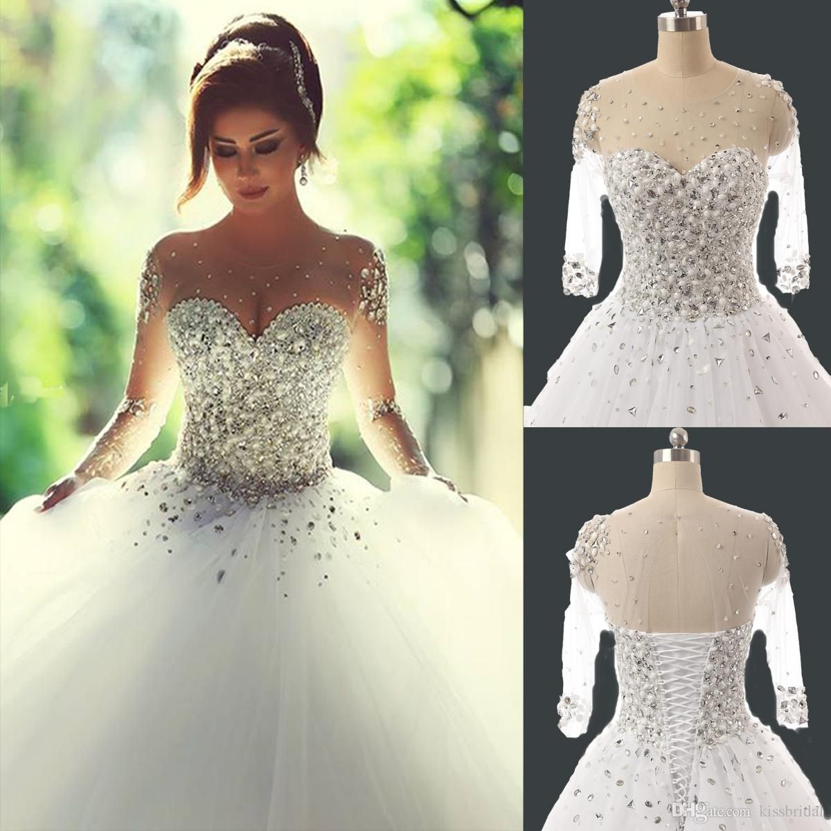 2015 Real Photos Long Sleeve Ball Gown Wedding Dresses With ...