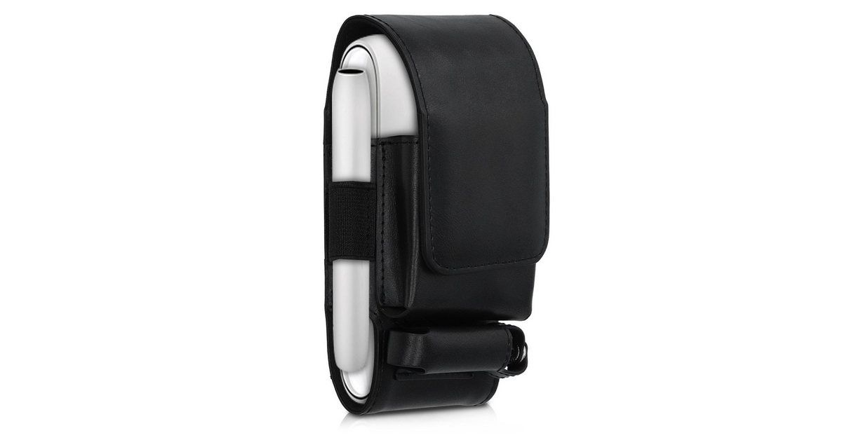 Besondere Merkmale , Hülle 3in1 für IQOS 3 Pocket Charger - Kunstleder Case IQOS Starter-Kit Schutzhülle, |Material , Lederimitat, |Farbe , schwarz, |