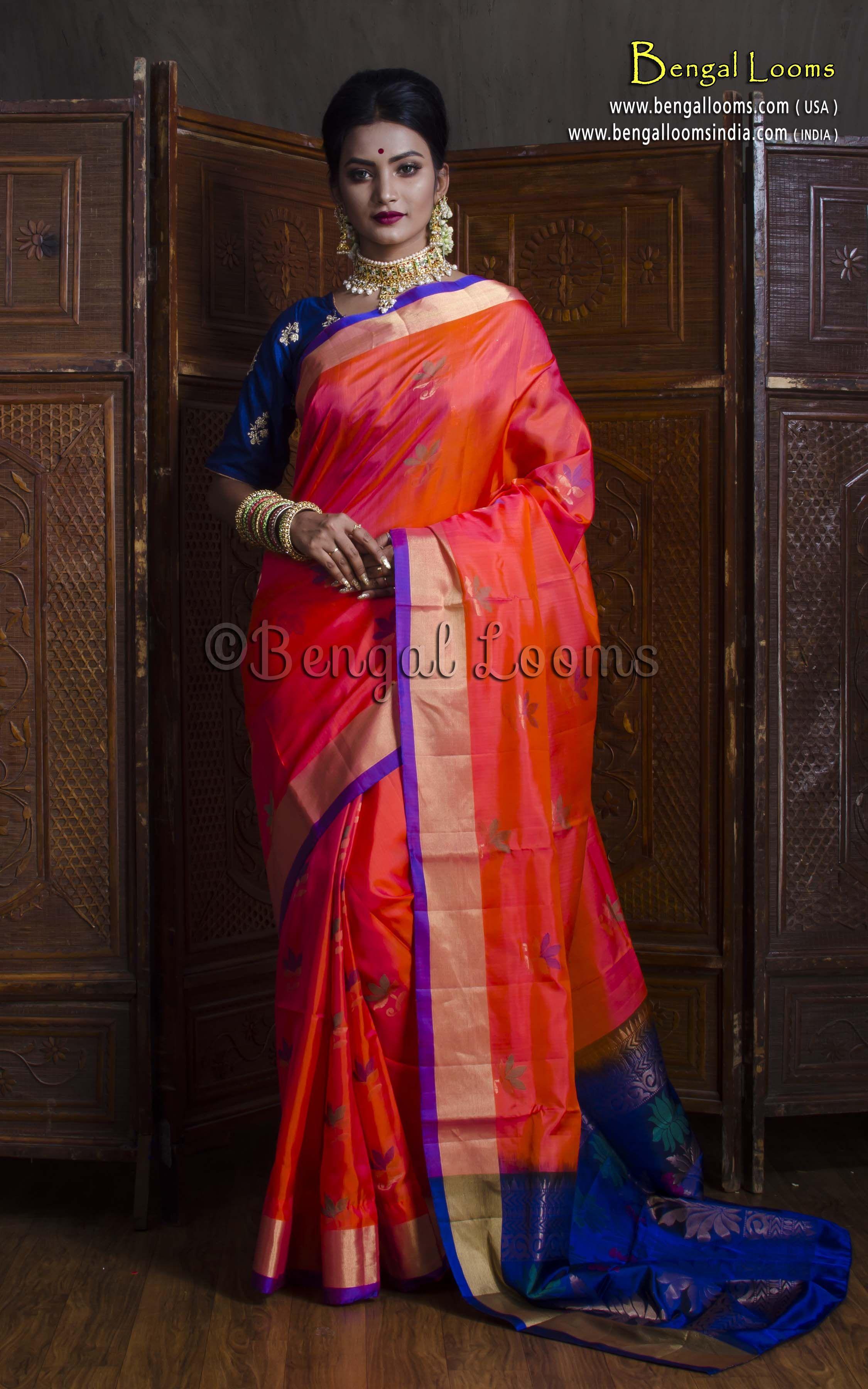 bf09bb5f70bef Pure Pure Handloom Soft Silk Kanchipuram Saree in Peachy Orange and Blue