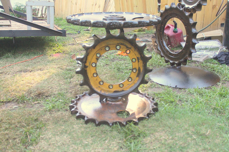 Industrial Side Table Gear Steampunk