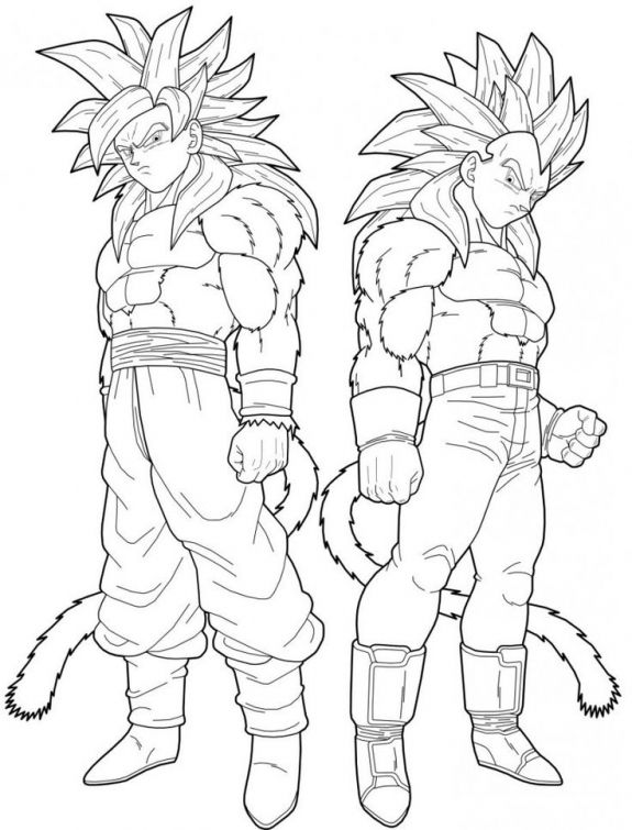 Dragon Ball Z Goku And Vegeta Turning To Super Saiyan 4 Coloring Page