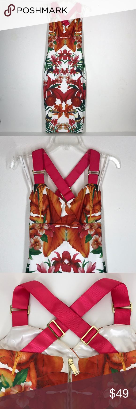"6952e82b2e34f Ted Baker London white tropical dress size 2 (4 6) This Ted Baker dress is  in like new condition. Only worn once! Length  42"" Bust  34"" Waist  29""  Hips  36"" ..."