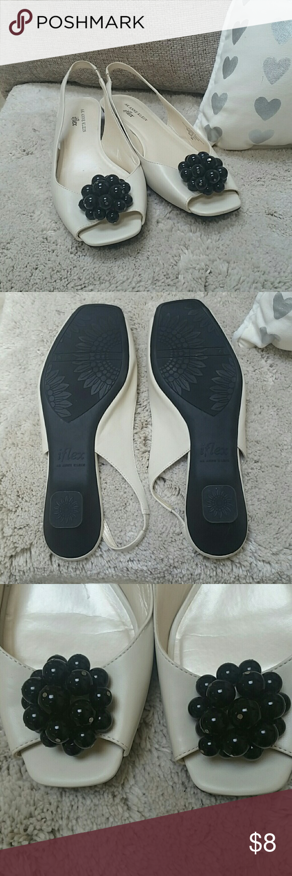 Never worn AK iflex slingback comfort shoes These cute shoes have a lot of give. They have an open toe and an elastic strap in the heel. They could fit a 9, 9.5, or a 10. Anne Klein Shoes