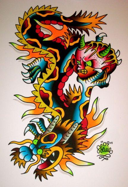 old school dragon tattoos - cerca con google | tattoo