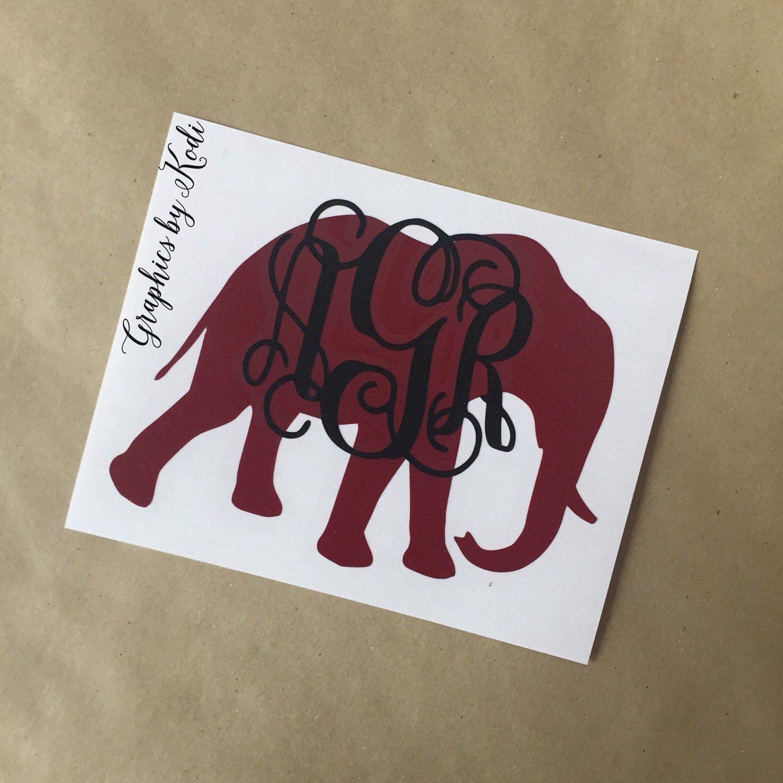 Alabama Crimson Tide Elephant Monogrammed Decal Crimson Tide - Elephant monogram car decal