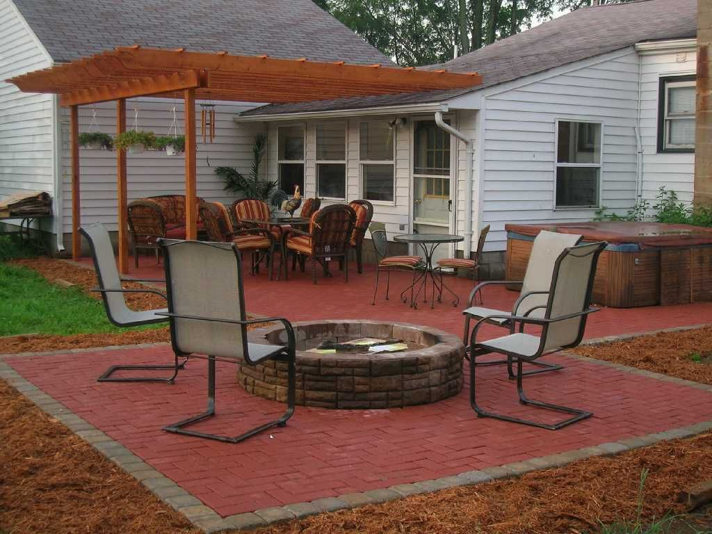 Small Patio with Firepit | Patio stones, Patio, Paver ... on Red Paver Patio Ideas id=44408