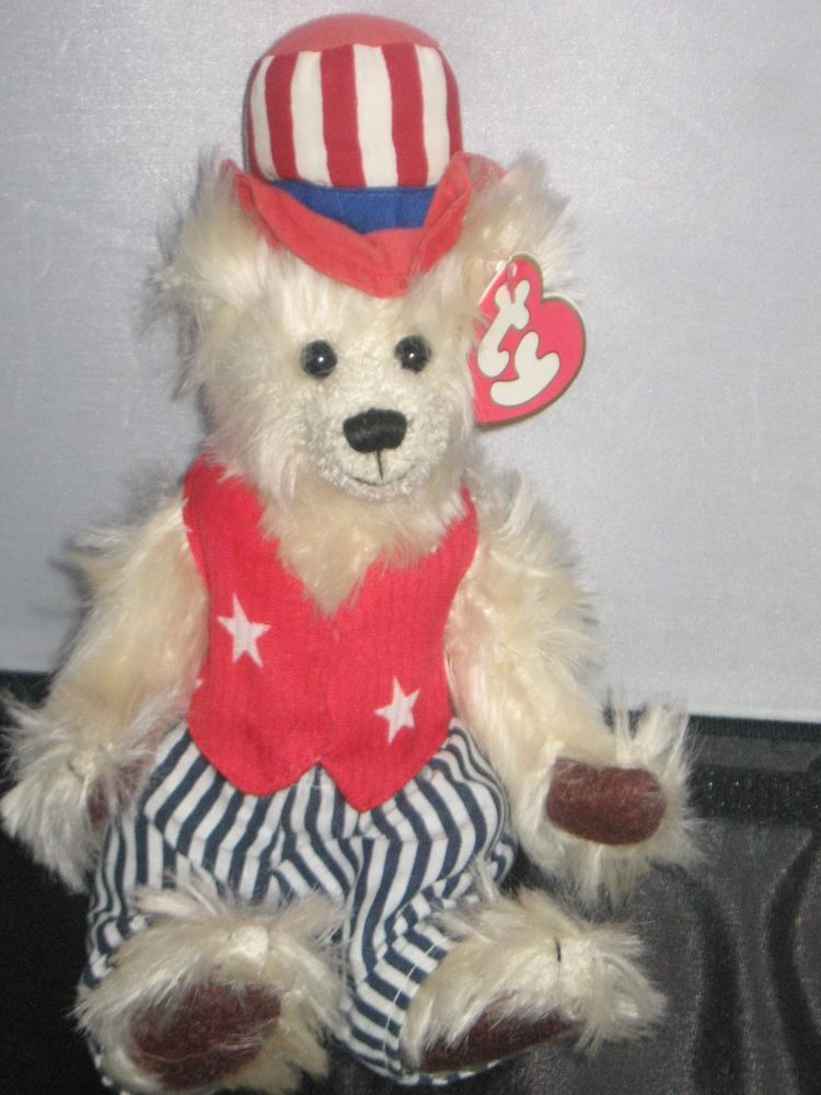 f4c6d44120f TY Beanie Babies Uncle Sam Bear with USA flag top hat  Ty