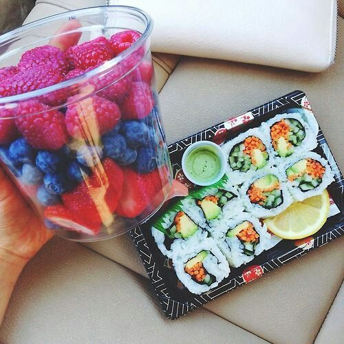 Fruits and sushi