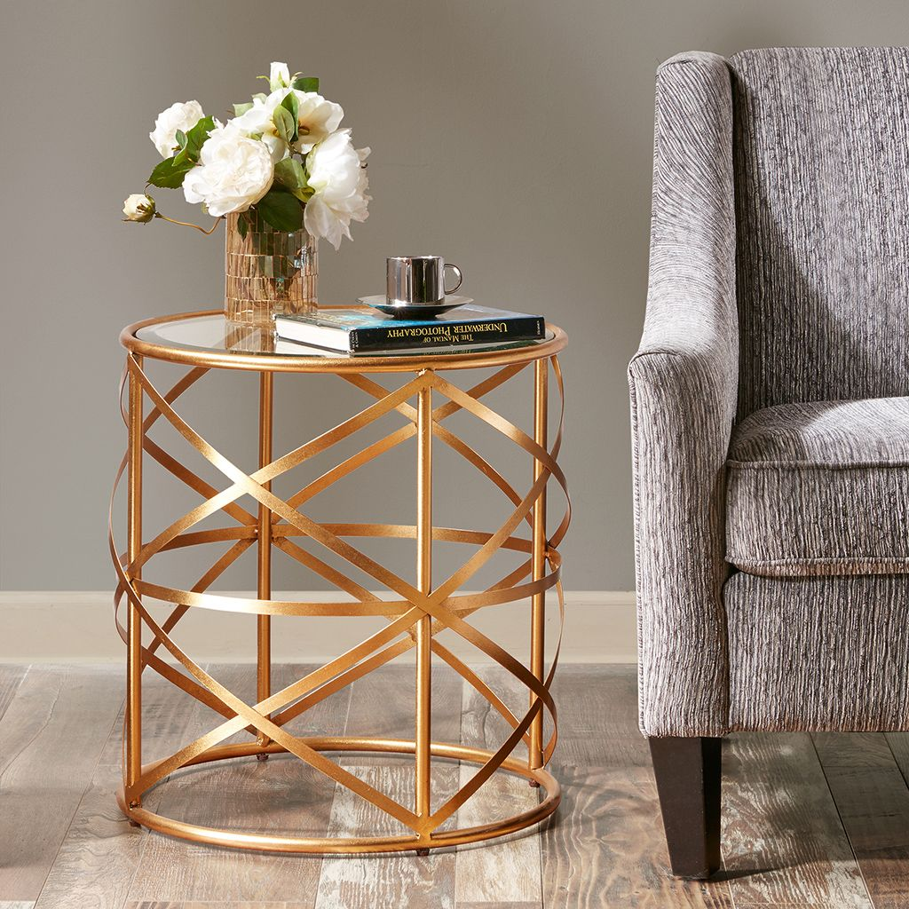 - Madison Park Nora 20-inch Round End Table With Metallic Gold Metal