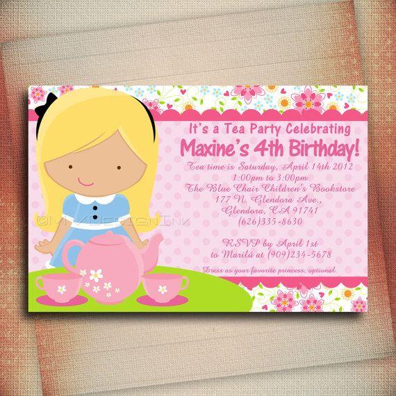 Princess Tea Party Birthday Invitation Princess Tea By