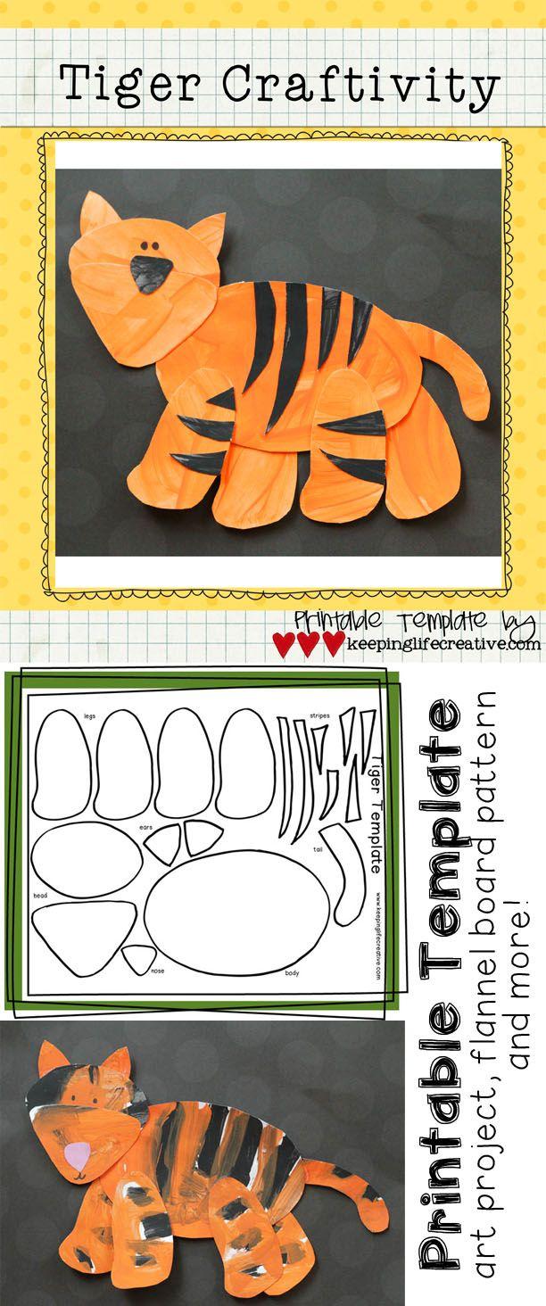 Tiger Craftivity Template | Tiger crafts, Animal art ...