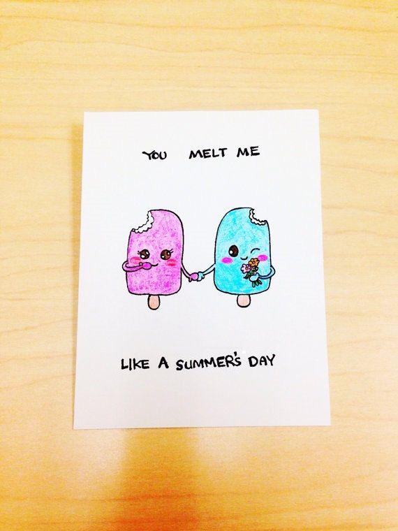 Funny Anniversary Card Cute Love Card Hand Drawn Cartoon Card You Melt Me Like A Summer S Day Fu Funny Love Cards Funny Anniversary Cards Anniversary Funny