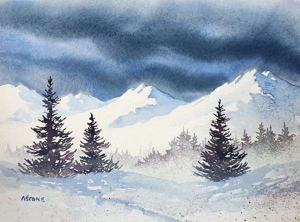 Mighty Mountains Watercolor By Teresa Ascone Arbres En