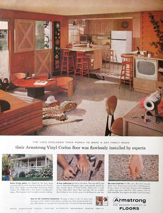 1959 Armstrong Floor Ad - 1950s Retro Kitchen Design - Family Room - Dutch  Door - Armstrong Vinyl Corlon Floor Ad - Midcentury Modern Decor
