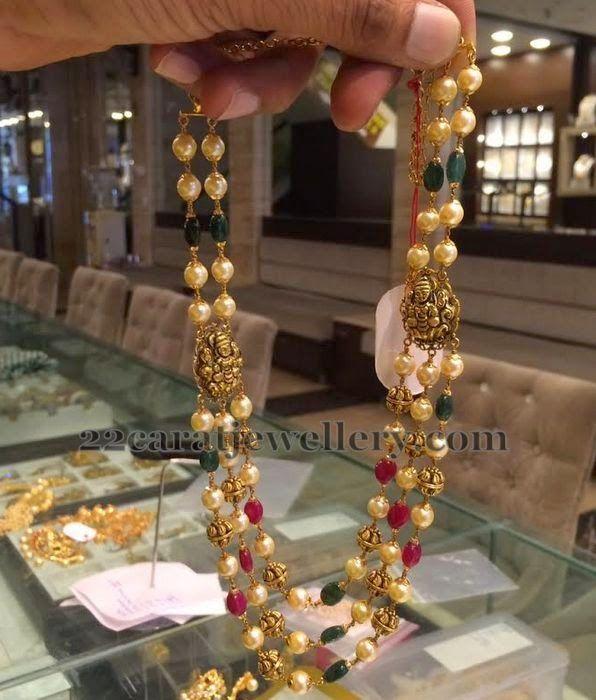Kanjivaram Beads: Jewellery Designs: 25gms Multi Beads Chain