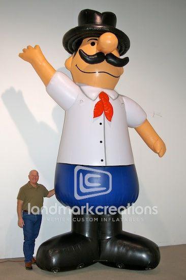 Inflatable Italian Guy Mascot for Pizza Pete Restaurants Mascots - restaurant statement