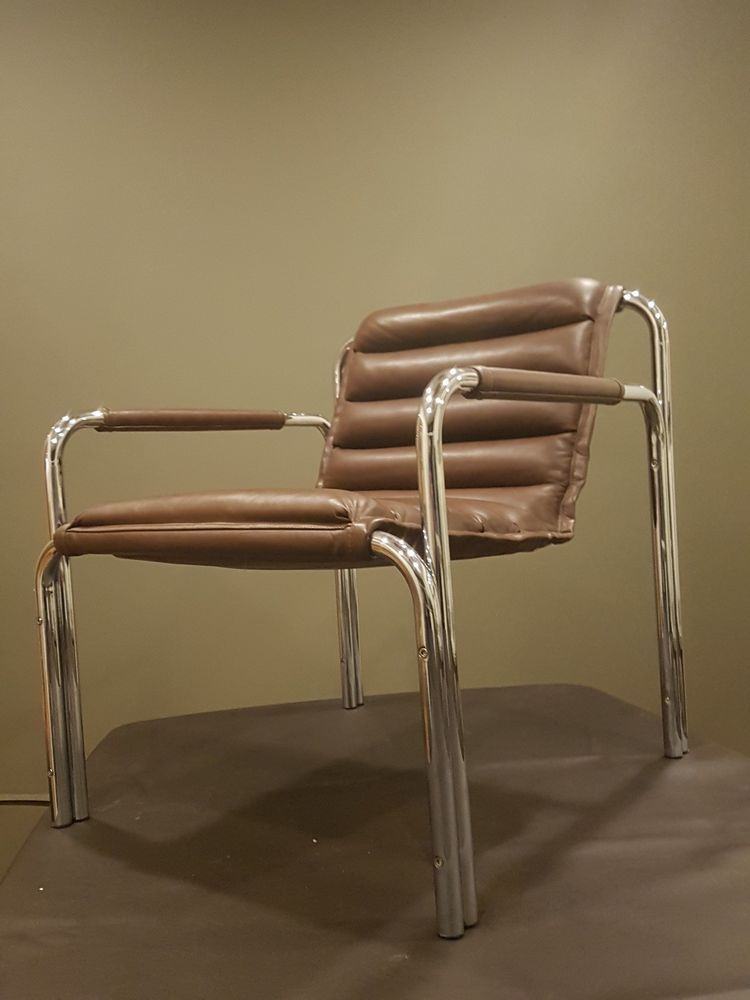 vintage baroumand designs leather chrome chair mid century retro