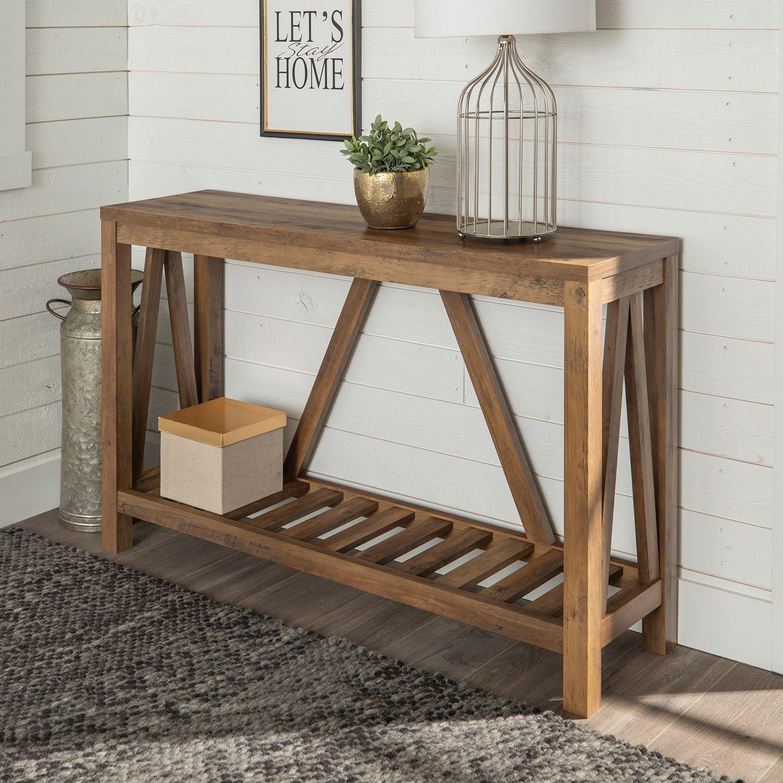 A Frame Rustic Oak Console Table Oak Console Table Living Room
