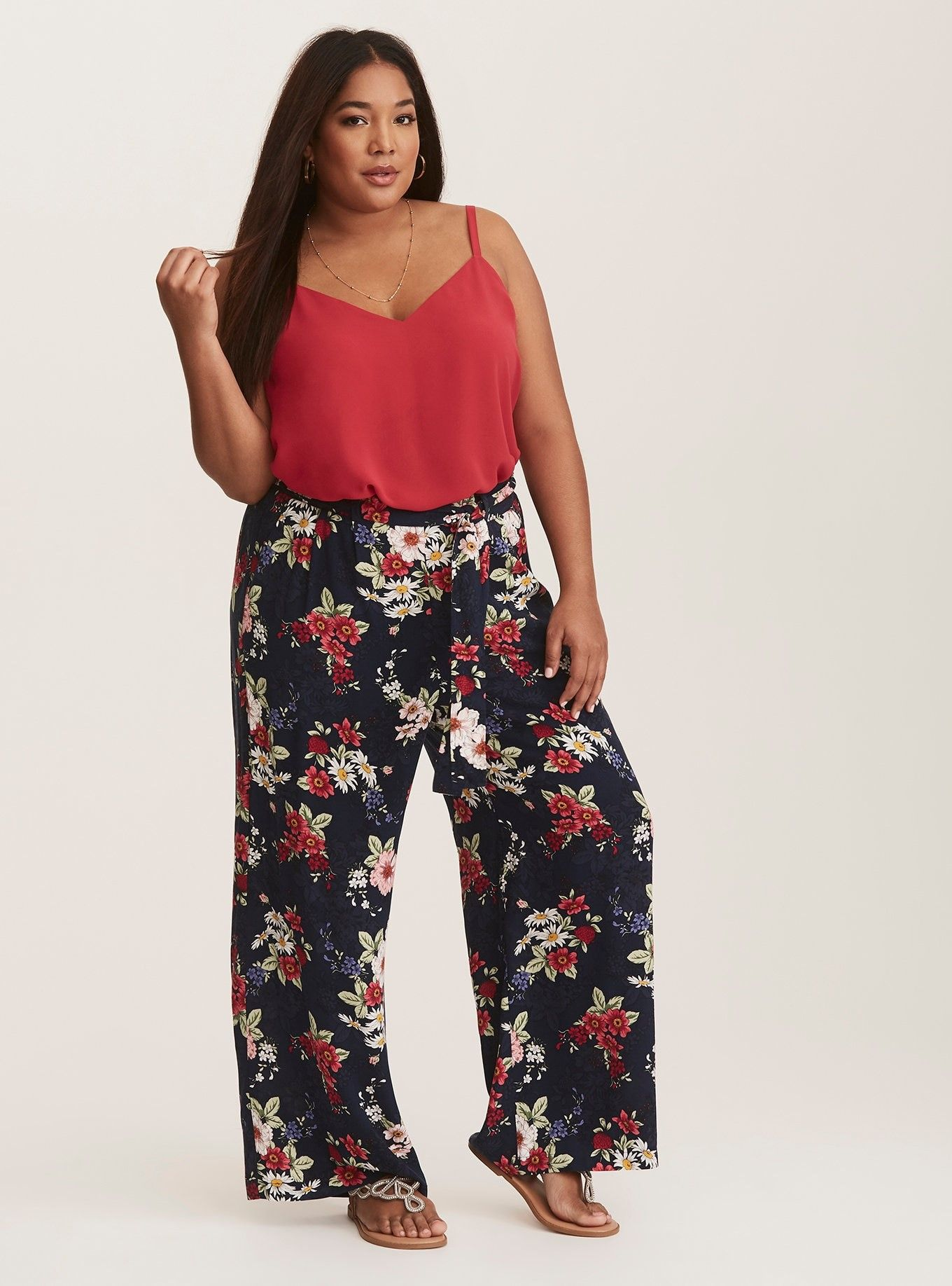 384ad24b7ac7e Navy Floral Print Challis Wide Leg Pants - In a floral printed challis  fabric