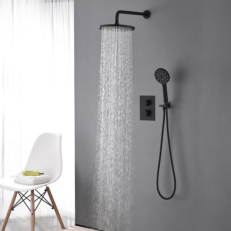 Duschsystem Thermostat Unterputz in Schwarz Duschsysteme
