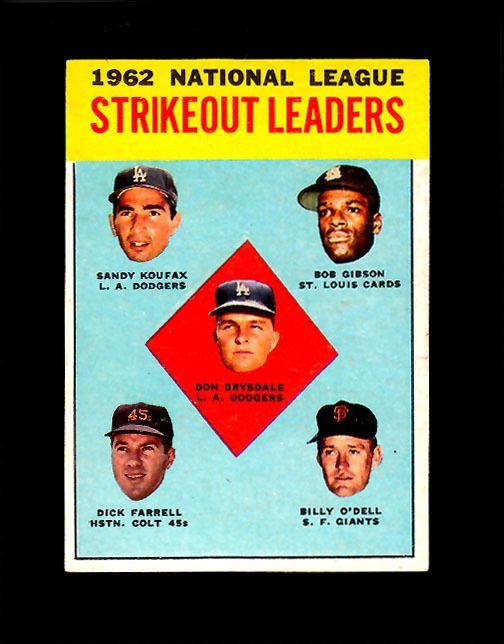 1963 Topps #9  NL STRIKEOUT LEADERS (KOUFAX-DRYSDALE-GIBSON) (HOF) Sharp!