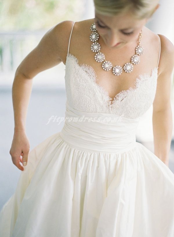 Lace V Neck Gathered Waist A Line Wedding Gown With Pockets