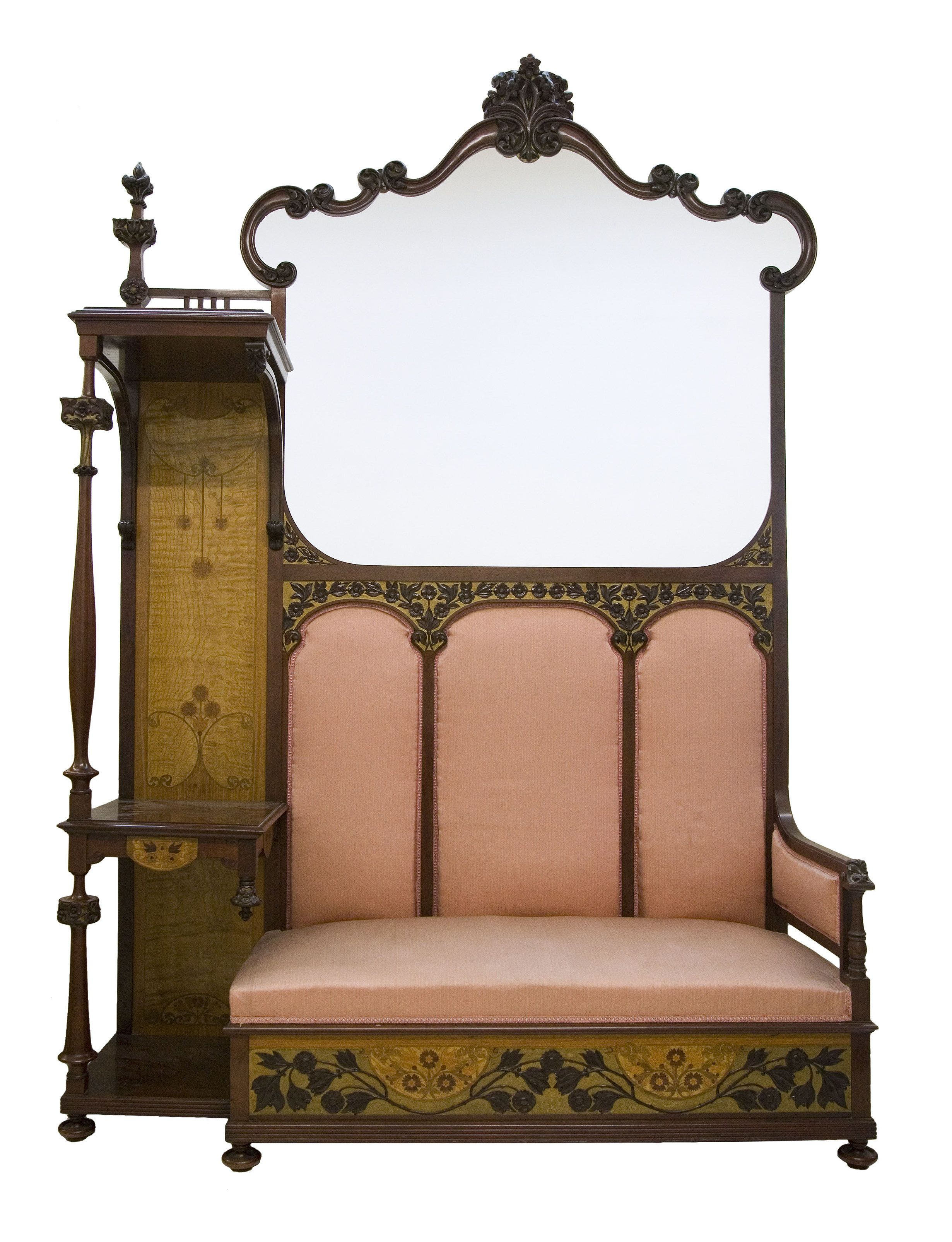 Gaspar homar sofa bench. mahogany with marquetry in lemon ash and