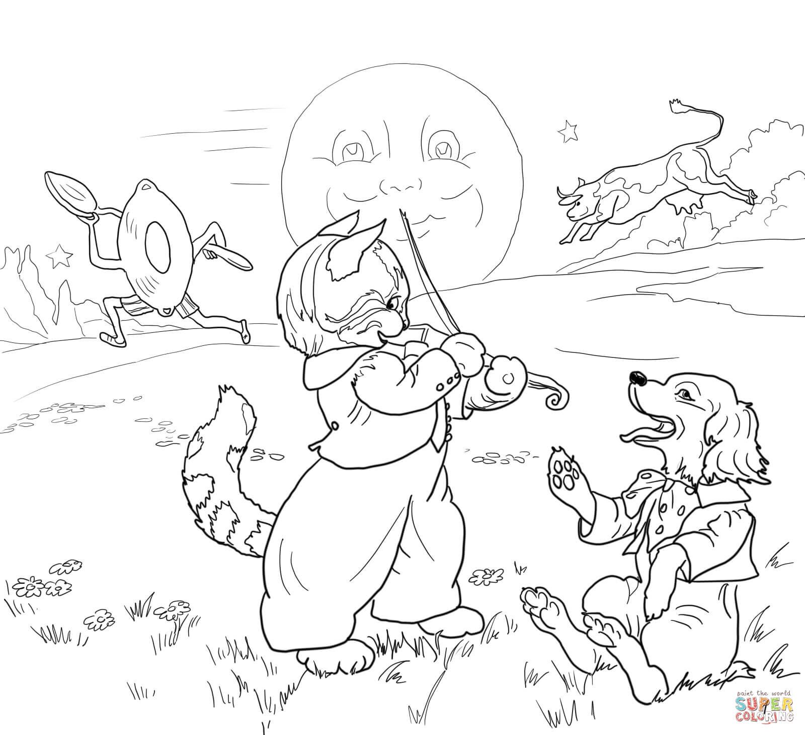 Hey Diddle Diddle The Cat And The Fiddle Coloring Page From Mother