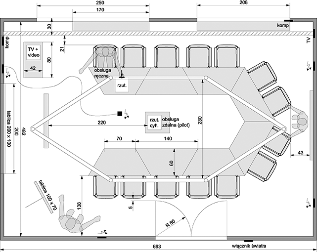 Diagram Of The Conference Room Top View Measurements
