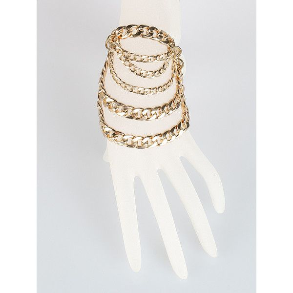 Gold Multirow Chunky Chain Bracelet ($19) ❤ liked on Polyvore featuring jewelry, bracelets, gold bangles, yellow gold jewelry, yellow gold bangle, gold jewelry and gold jewellery